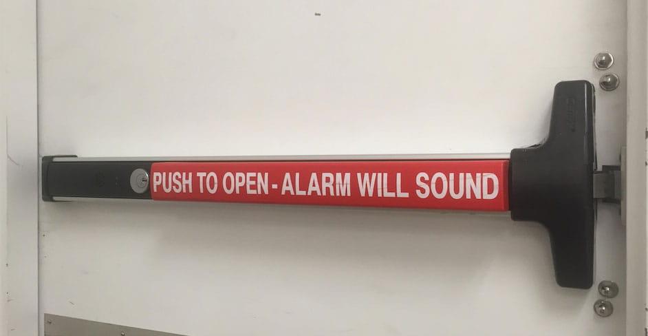Panic bar installation in Portland